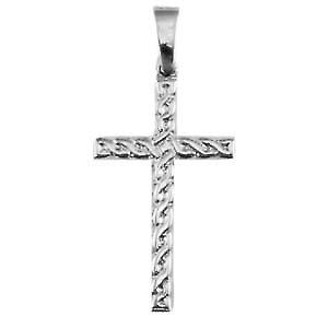 Silver 38x23mm knot embossed Celtic Cross with bail