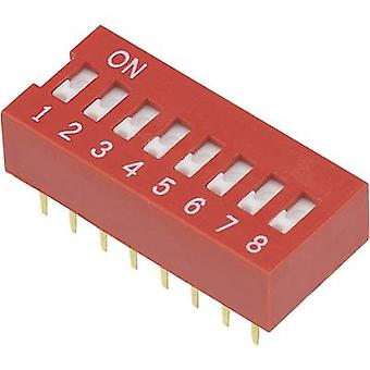 DIP switch Number of pins 8 Slide-type TRU COMPONENTS DSR-08