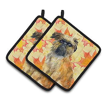 Carolines Treasures  BB9948PTHD Brussels Griffon Fall Pair of Pot Holders
