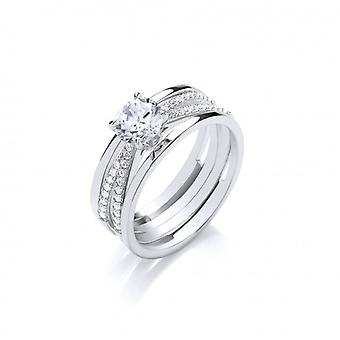 Cavendish French Twisted Silver Bands and CZ Solitaire Ring