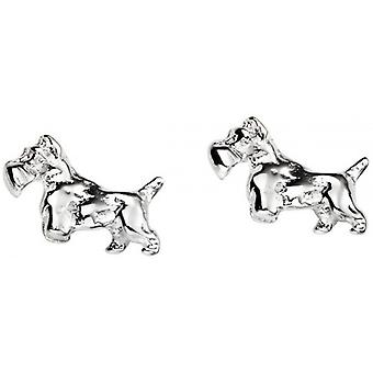Beginnings Scotty Dog Stud Earrings - Silver