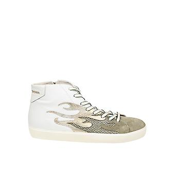 Leather Crown men's MFIRE1 beige/White Leather Hi Top sneakers