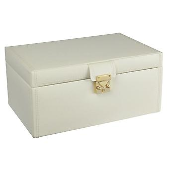 Leather Cream Large Jewellery Box