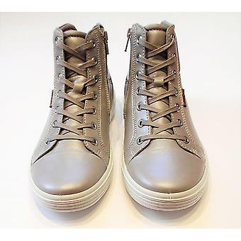 Ecco S7 Teen Girls Grey Shimmer Leather High Tops