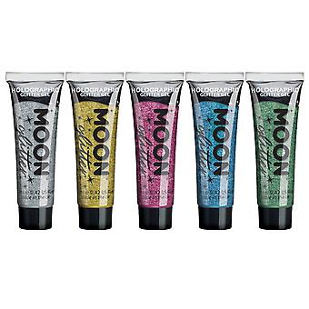 Holographic Face & Body Glitter Gel by Moon Glitter - 12ml - Set of 5 colours - Glitter Face Paint - Silver, Gold, Pink, Green, Blue