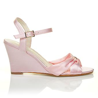 ANGEL Baby Pink Satin Wedge High Heel Strappy Bridal Shoes