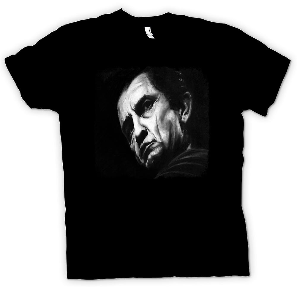 Womens T-shirt - Johnny Cash - skiss - porträtt