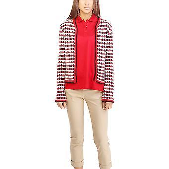 Moncler Womens uld Mohair blanding Tweed Cardigan rød