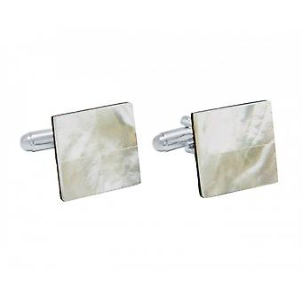 Men - cuff links - 925 Silver - mother of Pearl - White - 16 mm
