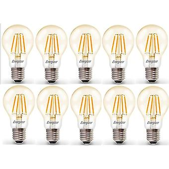 10 X Energizer LED Filament GLS Light Bulb Lamp Vintage ES E27 Clear 4.2W = 40W ES E27 Cap [Energy Class A+]