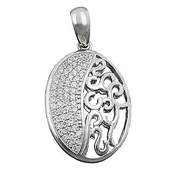 Oval Pendant pendant oval silver of zirconias rhodium-plated Silver 925