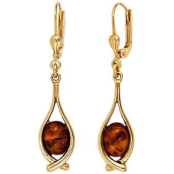 Amber boutons 375 Gold Yellow Gold 2 amber earrings