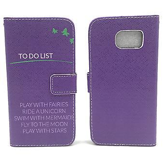 Handyhülle Tasche für Handy Samsung Galaxy S6 TO DO LIST Lila