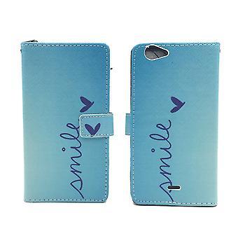 Mobiele telefoon geval zakje voor mobiele WIKO pulp Fab 4 G logo smile Blau
