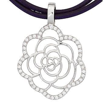 Single earrings flower bloom 925 sterling silver rhodium plated cubic zirconia charm silver