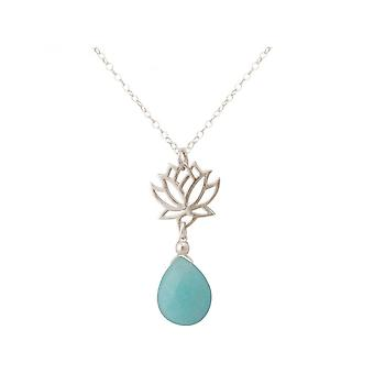 Damen - Halskette - Anhänger - 925 Silber - Lotus Blume - Mandala - Türkis - Tropfen - Blau - YOGA - 45 cm