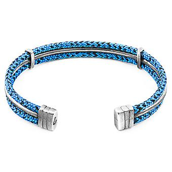 Anchor & Crew Blue Noir Aire Silver and Rope Bangle