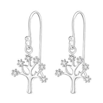 Tree - 925 Sterling Silver Cubic Zirconia Earrings - W37198x