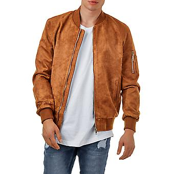 EightyFive mens faux leather bomber jacket camel