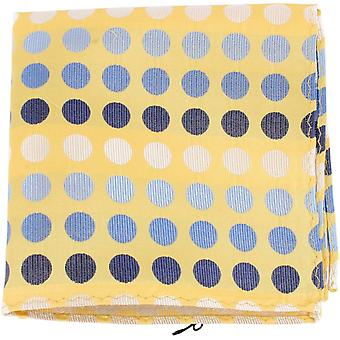 Knightsbridge Neckwear Multi Spot Silk Pocket Square - Yellow/Blue