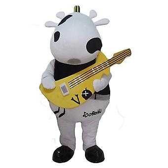 mascot cow black and white, with a yellow guitar SPOTSOUND
