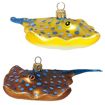 Pair of Detailed Mouth-Blown Stingray Glass Christmas Tree Baubles