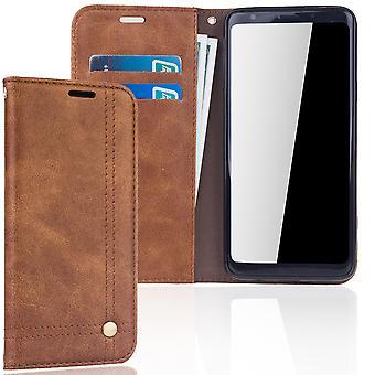 Telefono cellulare cover custodia per Samsung Galaxy S9 + copertura di portafoglio caso marrone