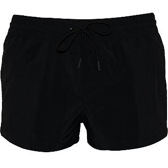 Versace Logo Tape Luxe Swim Shorts, Black