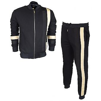 Cavalli Class Cotton Slim Fit Zip Up Black Tracksuit