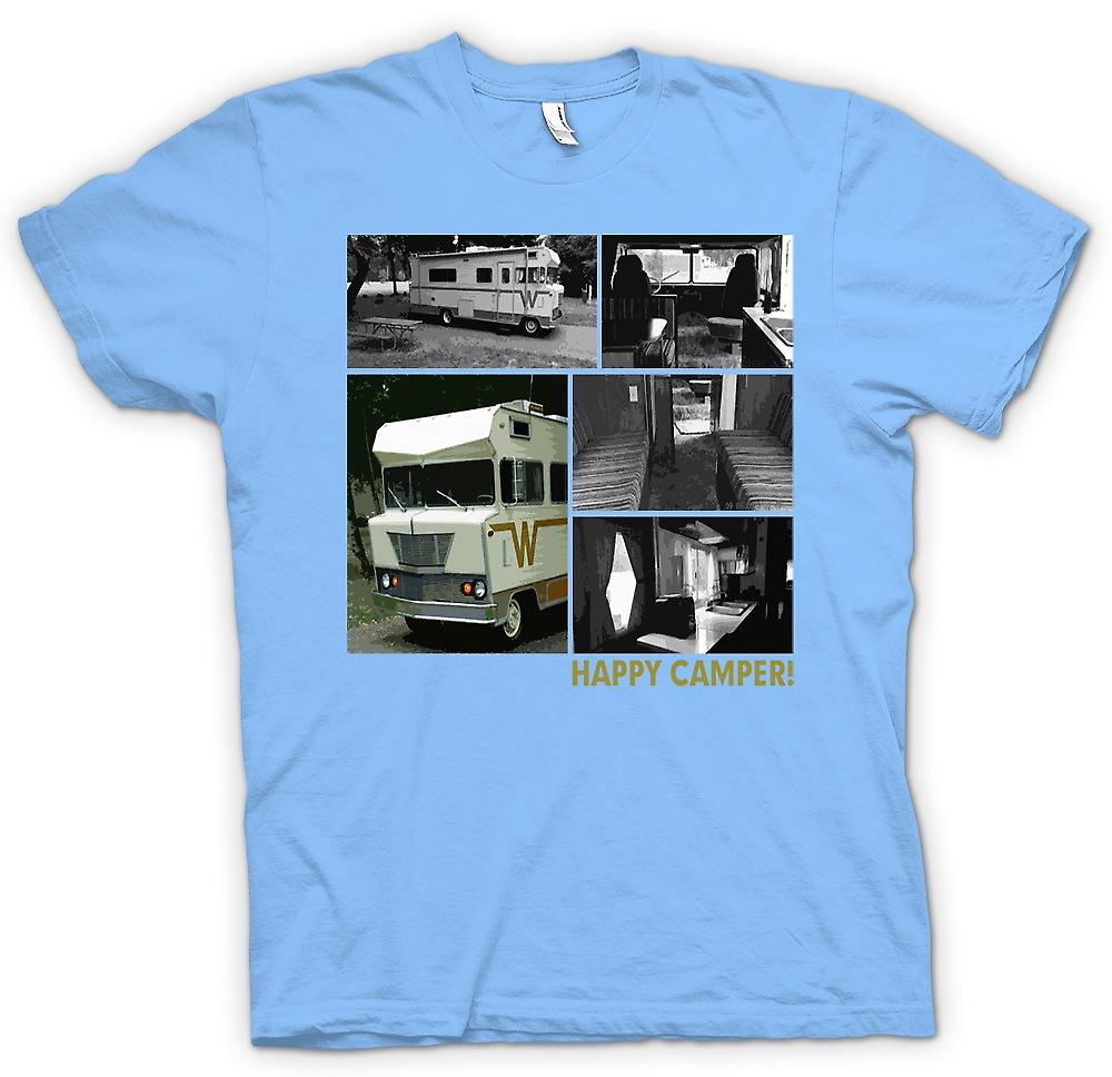 Mens T-shirt - Happy Camper - Retro Winnebago