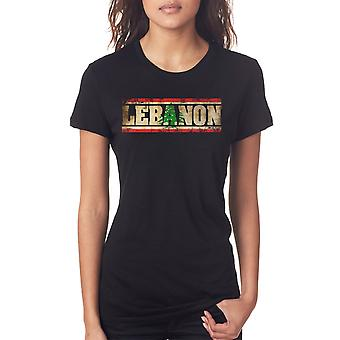 Lebanon_Lebanese Flag - Words Ladies T Shirt