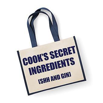 Große Marine Jute Tasche Cook geheimen Zutaten (Shh und Gin)