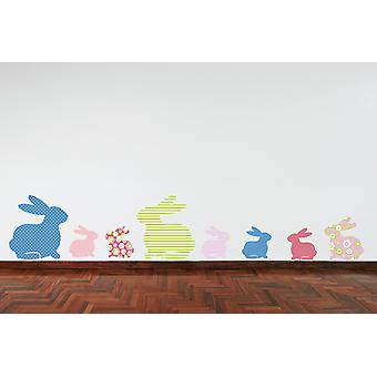 Full Colour Rabbits Pink Green Blue Lilac Wall Sticker
