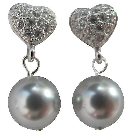 Diamante Heart Wedding Earrings In Grey Pearl