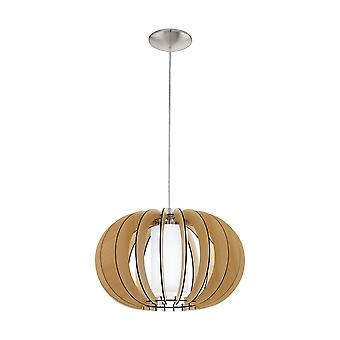 Eglo - Stellato 1 única luz de teto pendente em madeira de Maple e branco terminar EG95598