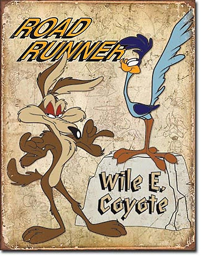 Road Runner Wile E Coyote retro metal sign    (ga)