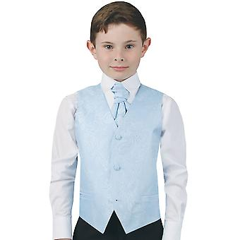 Dobell Boys Light Blue Paisley Waistcoat Regular Fit Wedding