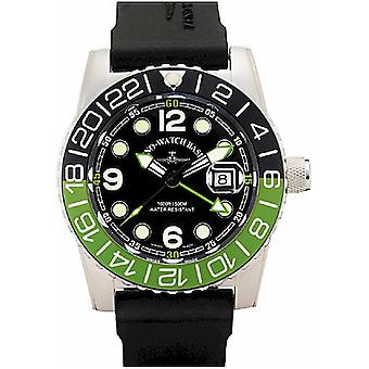 Zeno-watch - wrist watch - men - airplane diver quartz GMT points (dual time). black/green - 6349Q-GMT-a1-8