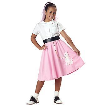 50s fett Rock N Roll gamle skolen 1950-tallet jenter kostyme rosa puddel skjørt