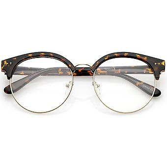 Classic Horn Rimmed Round Clear Flat Lens Half Frame Eyeglasses 55mm