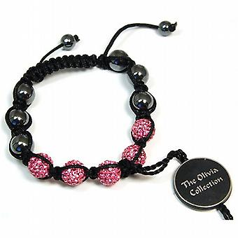 Pink Rhinestone Disco Ball Adjustable Bracelet by The Olivia Collection