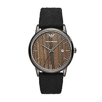 Emporio Armani Ar11156 Round Brown Dial Black Belt Men's Watch