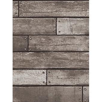 Charcoal Wooden Plank Effect Wallpaper Fine Decor FD31290