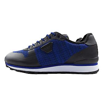 Armani Jeans Knit Trainer Electric Blue