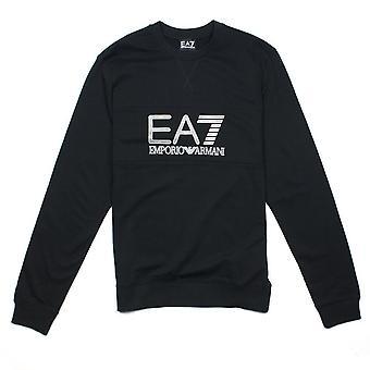 Ea7 Emporio Armani EA7 Large Logo Crew Neck Sweatshirt Black
