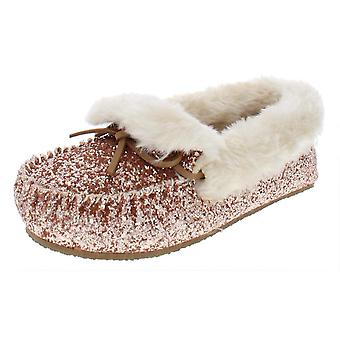 INC Womens Yeldie Glitter Faux Fur Lined Moccasins