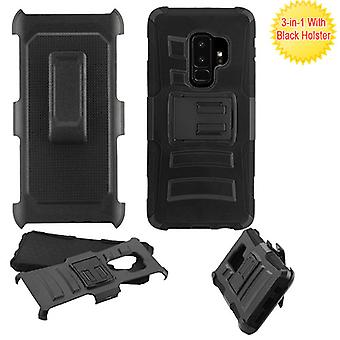 ASMYNA Black/Black Advanced Armor Stand Protector Cover w/ Holster  for Galaxy S9 Plus