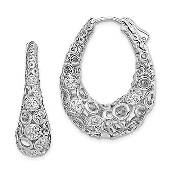 925 Sterling Silver Pave Polished Hinged hoop Safety clasp Rhodium-plated Rhodium Plated Cubic Zirconia Oval Hoop Earrin