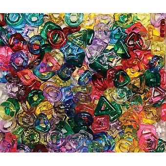 Stringing Ring Beads 220 Pkg Assorted Translucent Shapes 3267