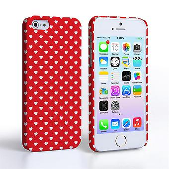 Caseflex iPhone SE Cute Hearts Case Red
